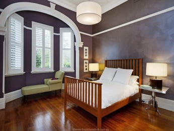 Period bedroom design idea with floorboards & louvre windows using purple colours - Bedroom photo 526193