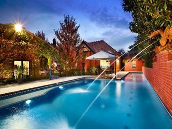 In-ground pool design using brick with outdoor dining & fountain - Pool photo 523157