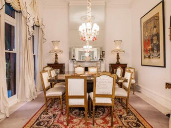 Classic dining room idea with carpet & floor-to-ceiling windows - Dining Room Photo 527081