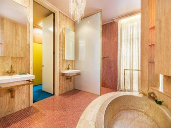 Modern bathroom design with floor-to-ceiling windows using granite - Bathroom Photo 1603177