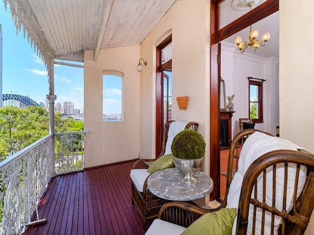 Victorian verandah frieze, timber floorboards, among heritage features maintained at 24 Arthur Street, Lavender Bay
