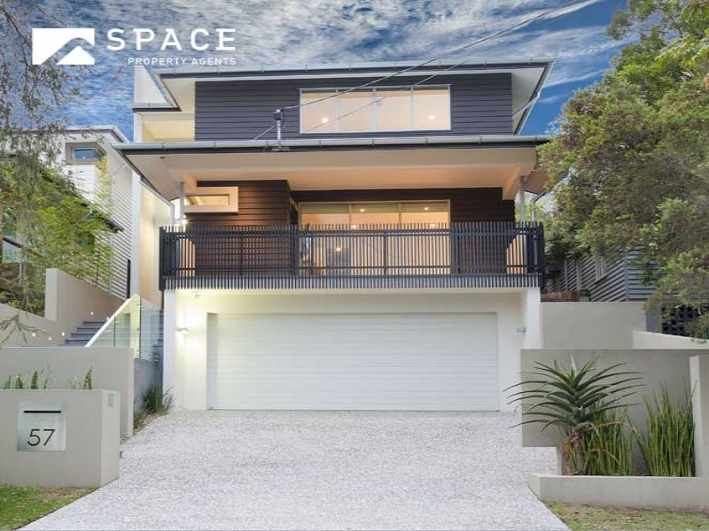 Concrete modern house exterior with balcony landscaped for Modern house facades