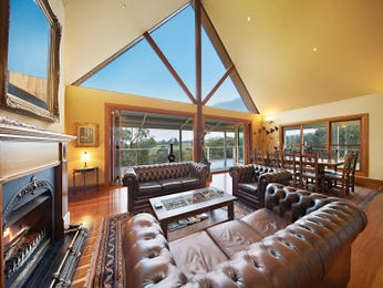 Open plan living room using yellow colours with leather & floor-to-ceiling windows - Living Area photo 16987077