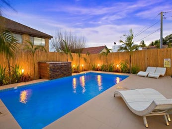 Landscaped pool design using bluestone with pool fence & ground lighting - Pool photo 136520