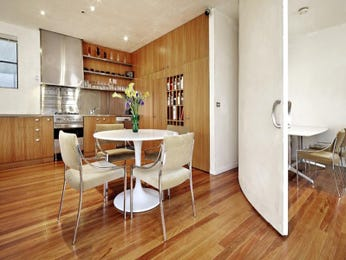 Modern dining room idea with floorboards & bar/wine bar - Dining Room Photo 137893