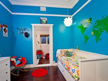 Children's room bedroom design idea with carpet & sliding doors using blue colours - Bedroom photo 140737