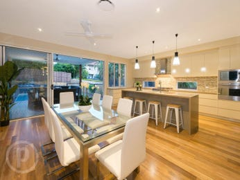 Modern dining room idea with floorboards & floor-to-ceiling windows - Dining Room Photo 16694385