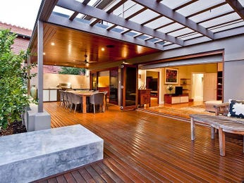 Indoor-outdoor outdoor living design with verandah & decorative lighting using slate - Outdoor Living Photo 143613
