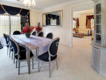 Formal dining room idea with carpet & floor-to-ceiling windows - Dining Room Photo 362268