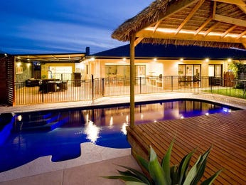 Modern pool design using wrought iron with cabana & decorative lighting - Pool photo 1105108