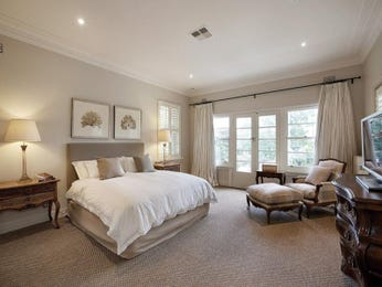 Modern bedroom design idea with carpet & french doors using beige colours - Bedroom photo 145246