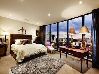 Asian-inspired bedroom design idea with floorboards & bi-fold windows using cream colours - Bedroom photo 147217