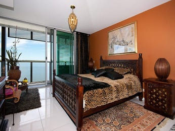 Classic bedroom design idea with tiles & balcony using brown colours - Bedroom photo 148956