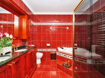 Bathroom ideas with frosted glass tiles timber floor to - Red and yellow bathroom ideas ...
