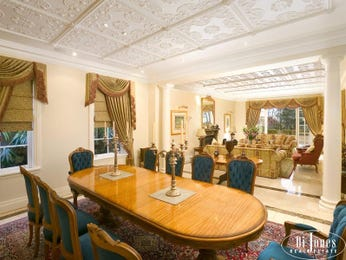 Classic dining room idea with carpet & sash windows - Dining Room Photo 203166