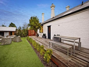 Landscaped garden design using grass with deck & cubby house - Gardens photo 207496