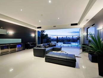 Open plan living room using black colours with tiles & bar/wine bar - Living Area photo 358495
