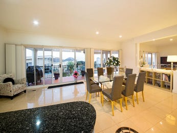Modern dining room idea with glass & floor-to-ceiling windows - Dining Room Photo 15885861