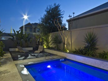 In-ground pool design using slate with decking & ground lighting - Pool photo 260593