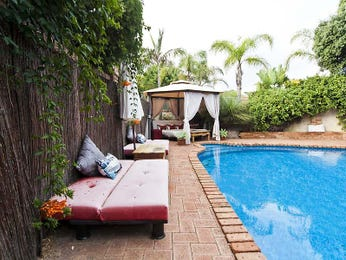 In-ground pool design using pavers with gazebo & outdoor furniture setting - Pool photo 1353726