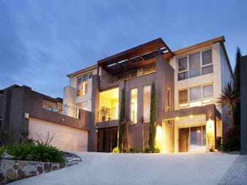 Brick modern house exterior with balcony & decorative lighting - House Facade photo 262224