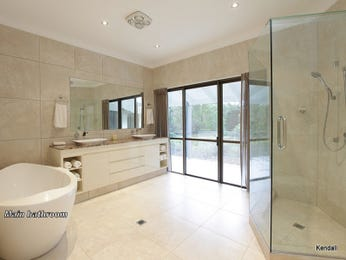 Modern bathroom design with floor-to-ceiling windows using marble - Bathroom Photo 1064270
