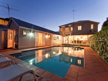 In-ground pool design using bluestone with glass balustrade & decorative lighting - Pool photo 269243