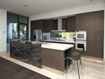 Modern galley kitchen design using tiles kitchen photo for Galley kitchen with breakfast bar