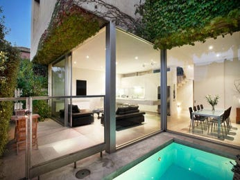 Endless pool design using tiles with spa & outdoor furniture setting - Pool photo 457658