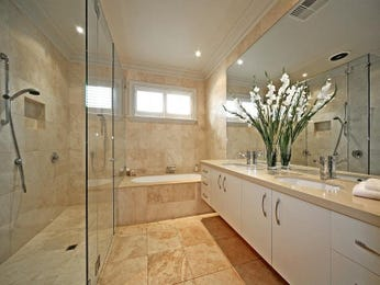 Bathroom ideas with frosted glass and twin basins in blue - Red and yellow bathroom ideas ...