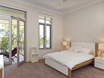 Modern bedroom design idea with carpet & balcony using neutral colours - Bedroom photo 1065715