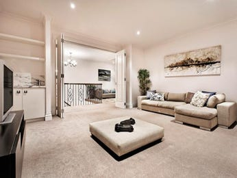 Dining-living living room using black colours with carpet & bi-fold doors - Living Area photo 273129