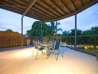 Indoor-outdoor outdoor living design with balcony & decorative lighting using tiles - Outdoor Living Photo 397843