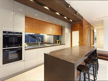 Modern open plan kitchen design using tiles - Kitchen Photo 7433733