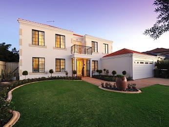 Stone modern house exterior with juliet balcony & landscaped garden - House Facade photo 1521906