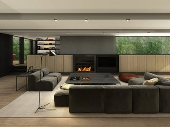 Open plan living room using grey colours with tiles & built-in shelving - Living Area photo 1551732