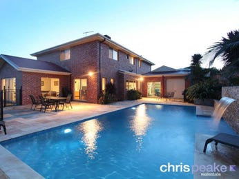 Freeform pool design using bluestone with outdoor dining & decorative lighting - Pool photo 326883