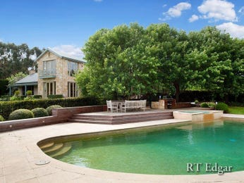 Freeform pool design using brick with outdoor dining & hedging - Pool photo 660063