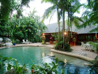 Freeform pool design using bamboo with outdoor dining & latticework fence - Pool photo 330883