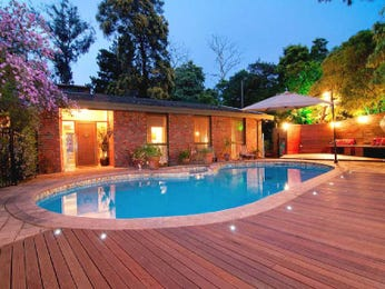 In-ground pool design using stone with decking & decorative lighting - Pool photo 1074689