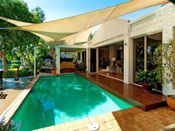 In-ground pool design using pavers with bbq area & shade sail - Pool photo 1497968