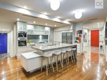 Modern open plan kitchen design using floorboards - Kitchen Photo 15466089