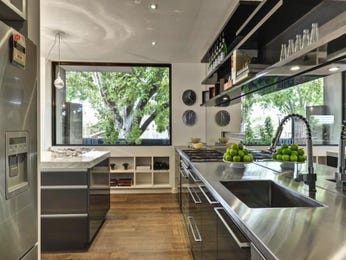 Modern galley kitchen design using floorboards - Kitchen Photo 610172