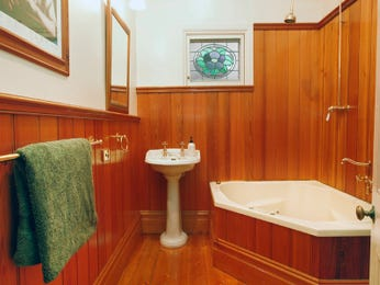 Period bathroom design with corner bath using timber - Bathroom Photo 488869