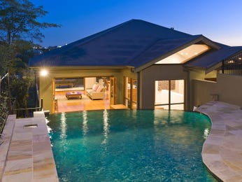 Geometric pool design using slate with retaining wall & decorative lighting - Pool photo 1360990
