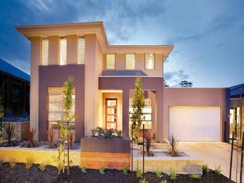 Concrete modern house exterior with brick fence & feature lighting - House Facade photo 1418529