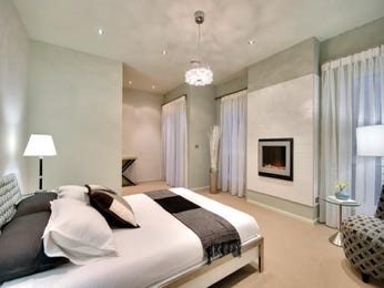 Romantic bedroom design idea with carpet & fireplace using grey colours - Bedroom photo 335267