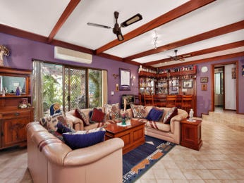 Dining-living living room using purple colours with tiles & exposed eaves - Living Area photo 1228178