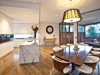 Classic dining room idea with floorboards & floor-to-ceiling windows - Dining Room Photo 8203641