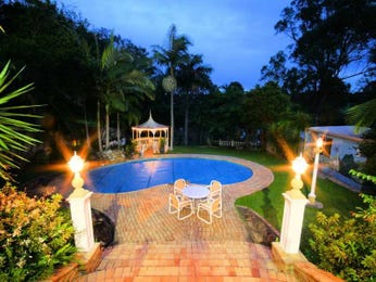 Freeform pool design using brick with bbq area & decorative lighting - Pool photo 1141642